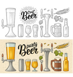 beer set with wood mug tap glass hop bottle vector image