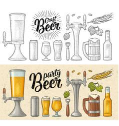 Beer set with wood mug tap glass hop bottle vector