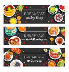 Breakfast horizontal banners vector