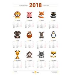 Calendar design template for 2018 year week vector