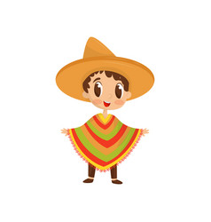 Cartoon character of little boy in colorful vector