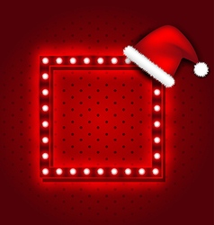 Christmas retro sign with Santa Claus hat vector