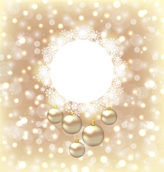 Christmas round frame made in snowflakes and vector image