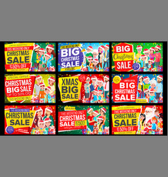 christmas sale banner set discount up to vector image