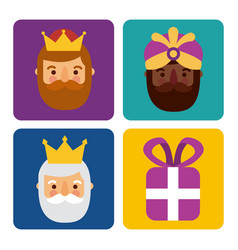 christmas three men kings and gift box celebration vector image