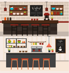 Coffee shop interiors horizontal banners vector