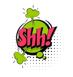 Comic sound effects pop art word Lettering Shh vector image