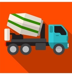 Concrete mixer flat icon vector