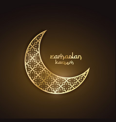 creative golden moon with abstract pattern vector image