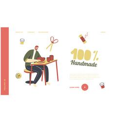 Creative handmade hobby landing page template vector