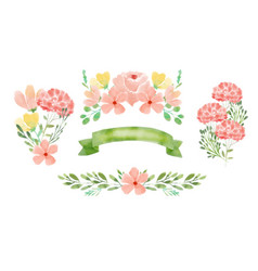 Cute hand painted watercolor flower vector