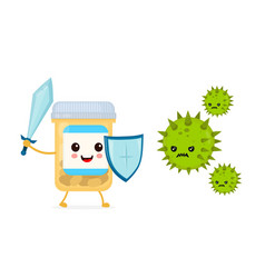 Cute happy funny strong pill bottle vector