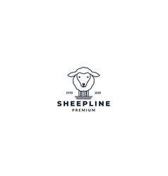 Cute sheep or goat line logo design vector