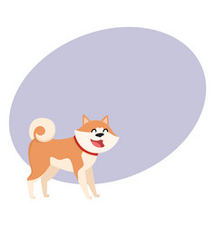 Cute smiling akita inu dog character isolated vector