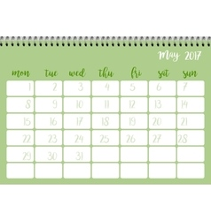 Desk calendar template for month May Week starts vector image