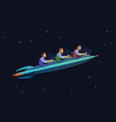 development team flying on the rocket start up vector image