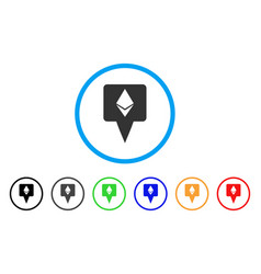 Ethereum map pointer rounded icon vector