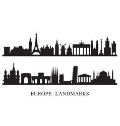 Europe skyline landmarks silhouette vector