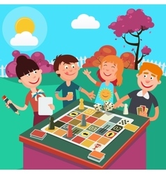 Family playing board game outdoor vector