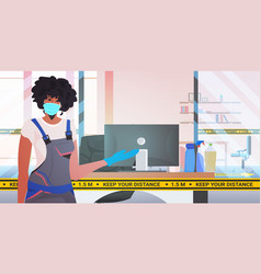 Female professional cleaner in medical mask woman vector