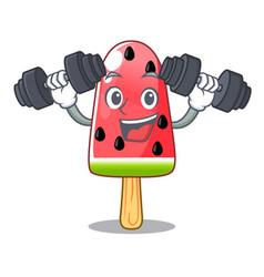fitness summer watermelon the ice shaped cartoon vector image