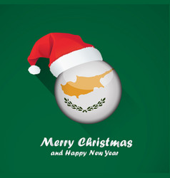flag of cyprus merry christmas and happy new year vector image