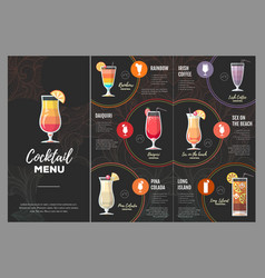 Flat cocktail menu design vector