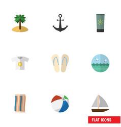 flat icon beach set of coconut ship hook yacht vector image