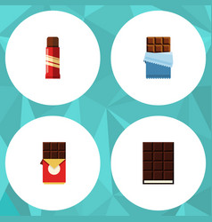 Flat icon chocolate set of sweet dessert bitter vector