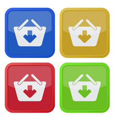 Four square color icons shopping basket add vector