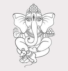 ganapati meditation in lotus pose vector image