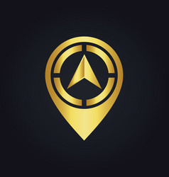 Gold arrow position navigation logo vector