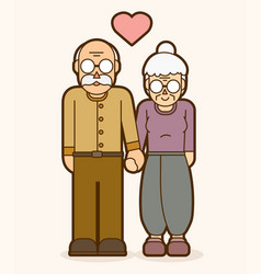 grandfather and grandmother holding handscouple vector image