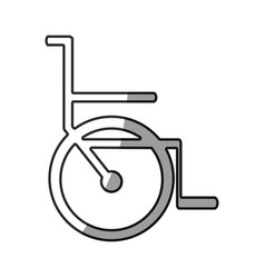 Grayscale silhouette with icon of wheelchair vector
