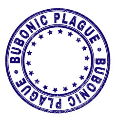 grunge textured bubonic plague round stamp seal vector image