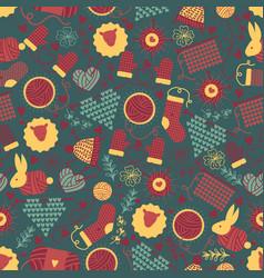 handknitting seamless pattern vector image