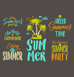 Handwriting words set for summer postcard vector