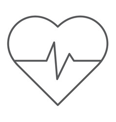 heart rate thin line icon medical and pulse vector image