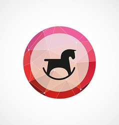 horse toy circle pink triangle background icon vector image