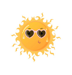 Hot yellow sun in heart-shaped sunglasses sending vector