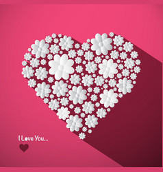 i love you concept with big heart made from paper vector image