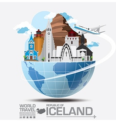 Iceland Landmark Global Travel And Journey vector image