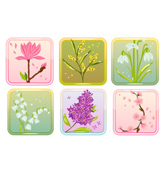 Icon set with spring flowers vector