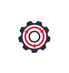 Integration icon gear and arrow on white vector
