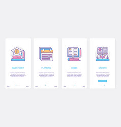 investment in education ux ui onboarding mobile vector image