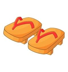 Japanese geta footwear icon cartoon style vector image