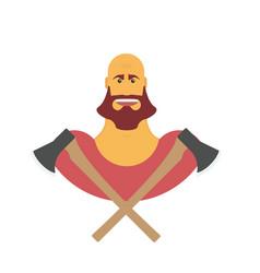 Lumberman bold man with beard strong cartoon vector
