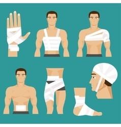 Medical set bandaged body parts vector