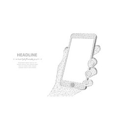 mobile phone abstract polygonal wireframe closeup vector image