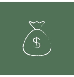 Money bag icon drawn in chalk vector